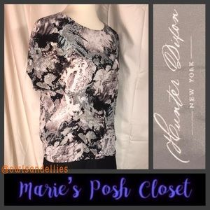 Black and White Blouse in 💯% Silk